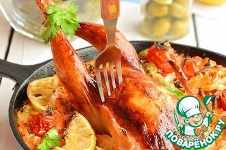 Рецепт: Цыпленок, запеченный с капустной солянкой
