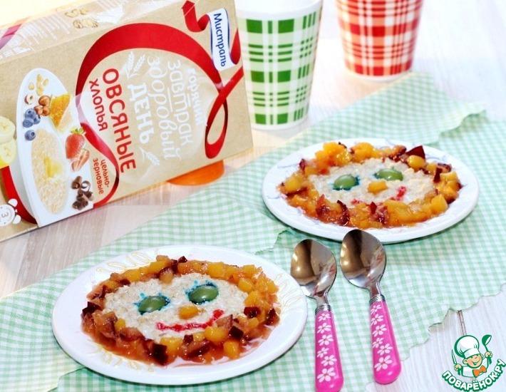 Рецепт: Овсянка с карамельным персиком и сливой