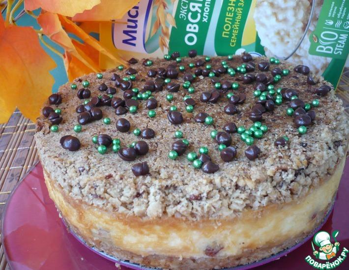 Рецепт: Овсяный пирог с творожной начинкой