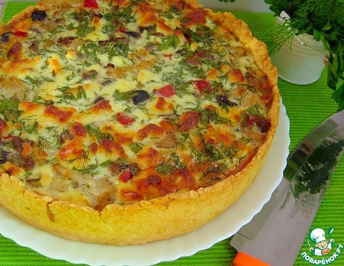 Рецепт: Пирог с цветной капустой и грибами