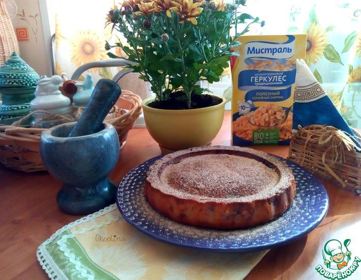Рецепт: Творожно-геркулесовый пирог на завтрак