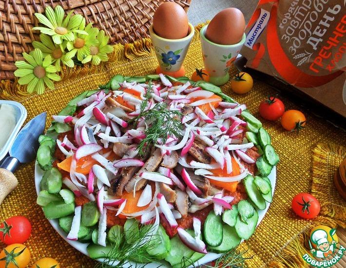 Рецепт: Гречневая галета с овощами и курицей
