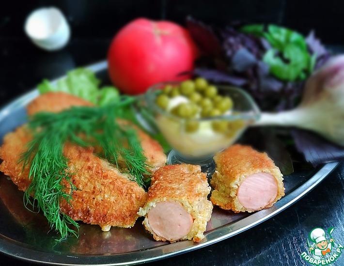 Рецепт: Сосиски в хрустящем кляре Доброе утро
