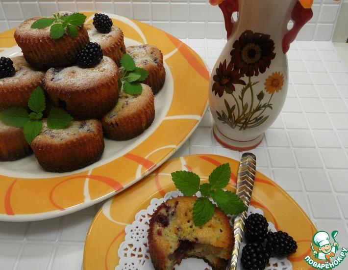 Рецепт: Творожно-ежевичные кексы