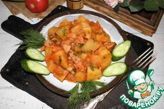 Рецепт: Картофель, тушенный с копченым мясом