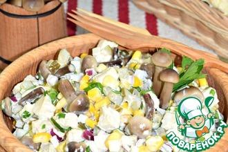 Рецепт: Салат с кукурузой и опятами Орфей