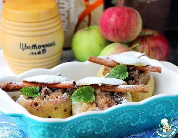 Рецепт: Гречневые хлопья, запеченные в яблоках