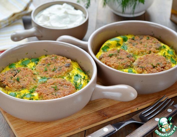 Рецепт: Овсяные-грибные котлеты в омлете