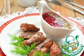 Рецепт: Куриная печень со свекольно-клюквенным соусом