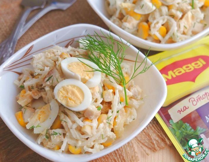 Рецепт: Салат с куриным филе и кукурузой