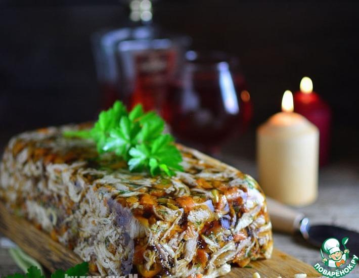 Рецепт: Пряный куриный зельц с оливками