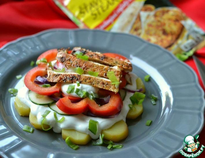 Рецепт: Салат с курицей, картофелем и овощами