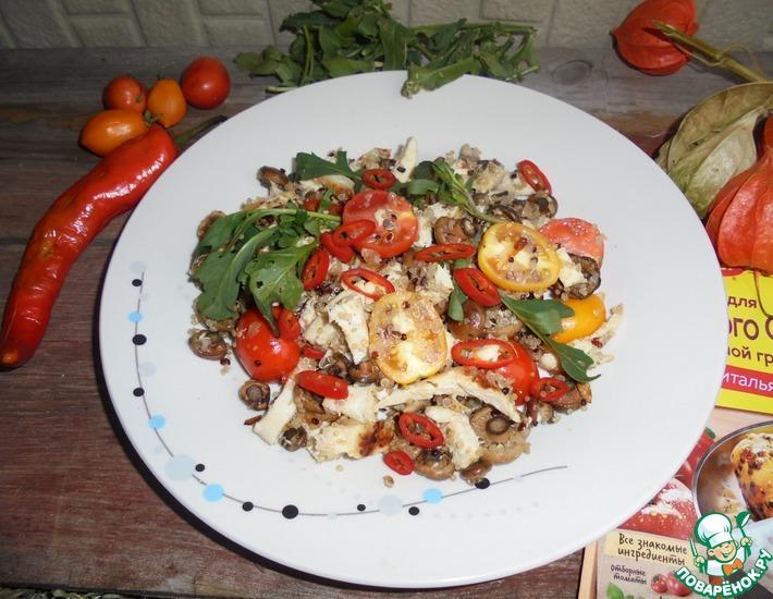 Рецепт: Салат из курицы с грибами и киноа