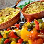 Пшенная каша с овощным шашлыком