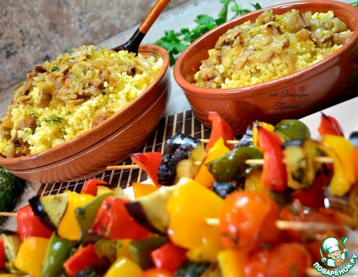 Рецепт: Пшенная каша с овощным шашлыком