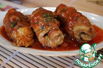 Рецепт: Мясные рулетики в томатном соусе
