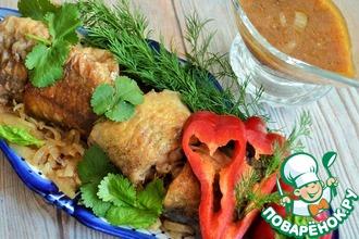 Рецепт: Минтай в баклажанном соусе