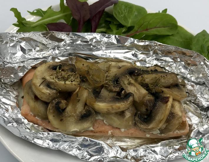 Рецепт: Филе красной рыбы с грибами