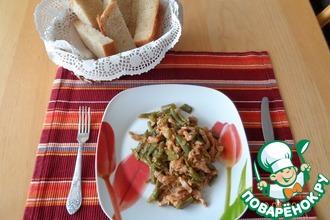 Рецепт: Тушеная стручковая фасоль с мясом