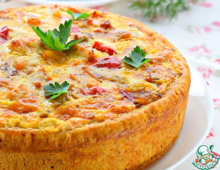 Рецепт: Пирог со сладким перцем и курицей
