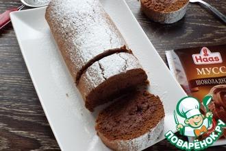 Рецепт: Шоколадный рулет с шоколадным муссом