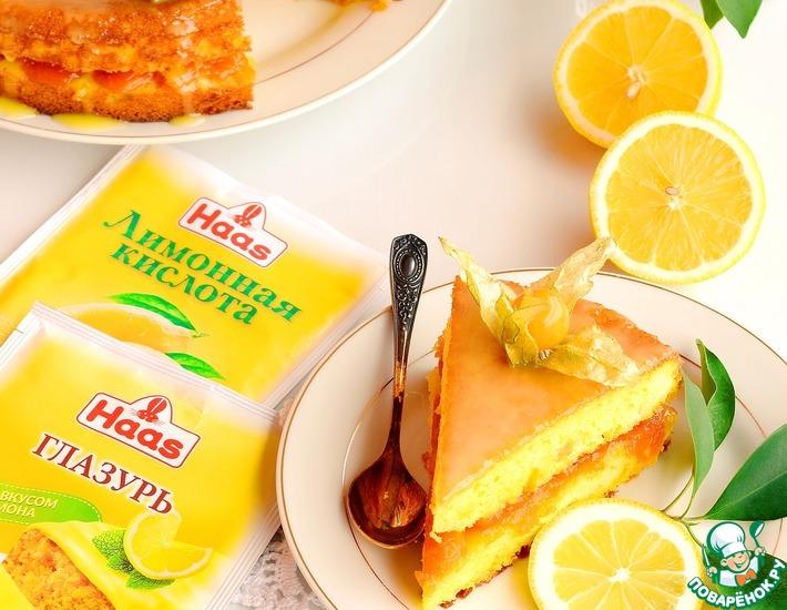 Рецепт: Лимонный пирог с медовой курагой