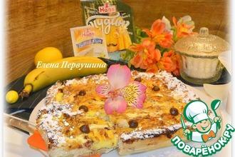 Рецепт: Творожно-ванильная запеканка с банановым пудингом