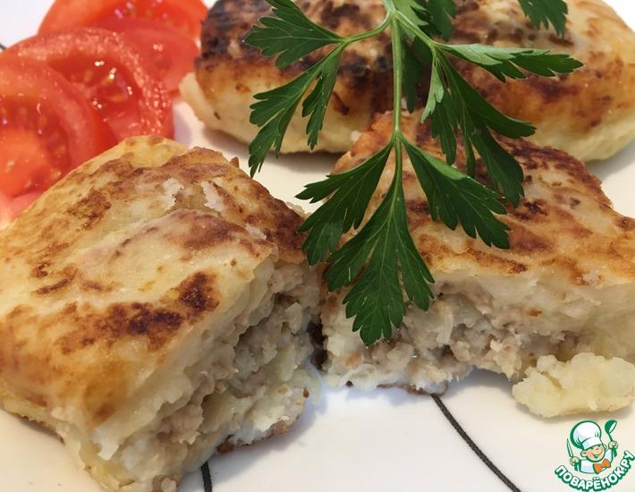 Рецепт: Картофельные оладьи с куриной начинкой Души