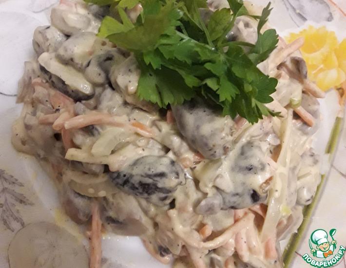 Рецепт: Салат с куриными сердечками