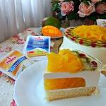Ванильный торт с манго