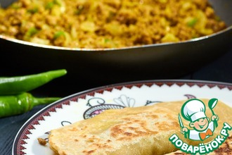 Рецепт: Арабские лепешки с мясом Муртабак