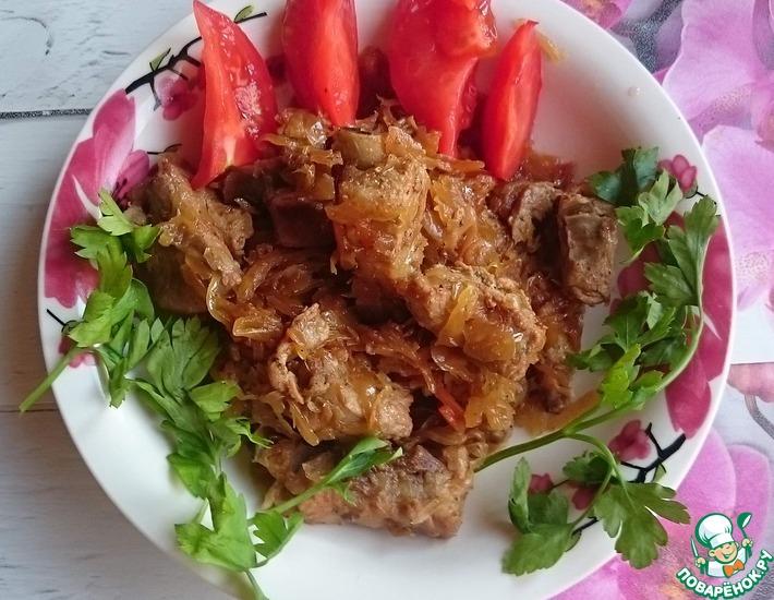Рецепт: Ребра свиные с кислой капустой