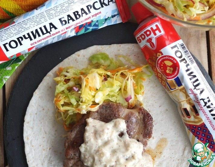Рецепт: Свинина-гриль со сливочно-горчичным соусом
