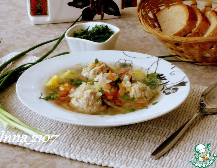 Рецепт: Суп с фрикадельками и пшеном
