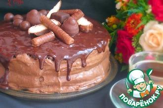 Рецепт: Торт с шоколадно-банановым кремом