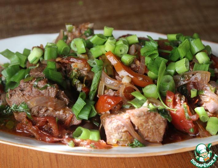 Рецепт: Мясо, тушенное в вине с овощами