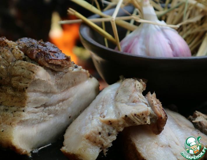 Рецепт: Сало на соломе в горшке