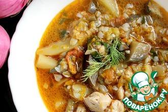 Рецепт: Гречневый суп с баклажанами