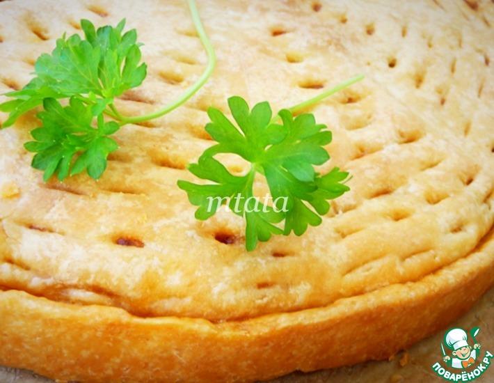 Рецепт: Пирог с фаршем на сметанном тесте