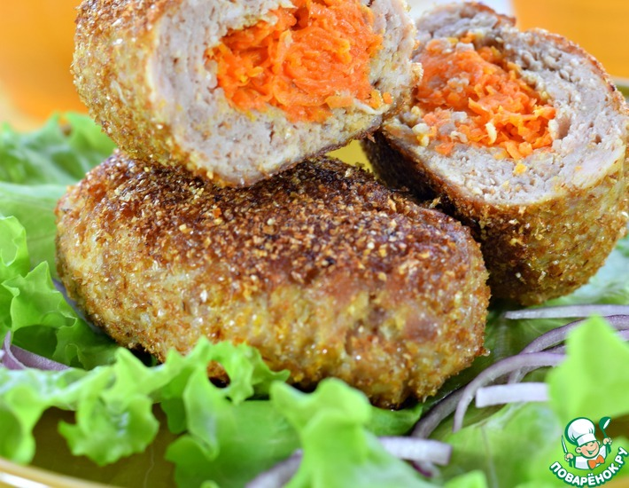 Рецепт: Зразы мясные с морковью