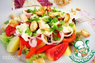 Рецепт: Салат с помидорами и крутонами