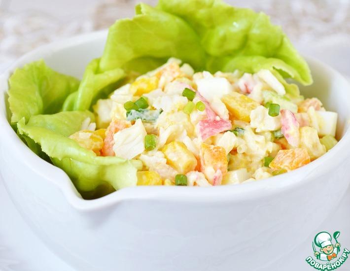 Рецепт: Салат с крабовыми палочками и морковью