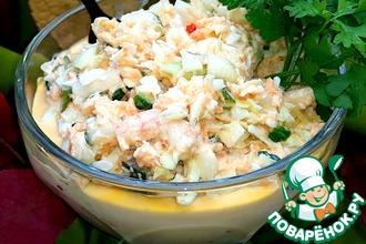 Рецепт: Салат с креветками и белокочанной капустой