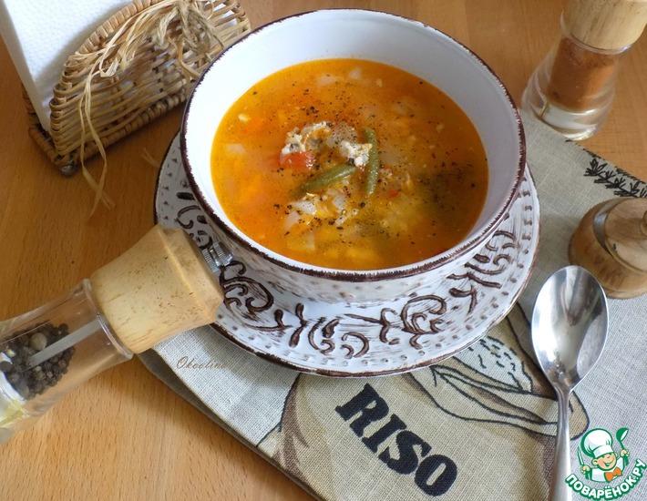 Рецепт: Куриный суп со стручковой фасолью