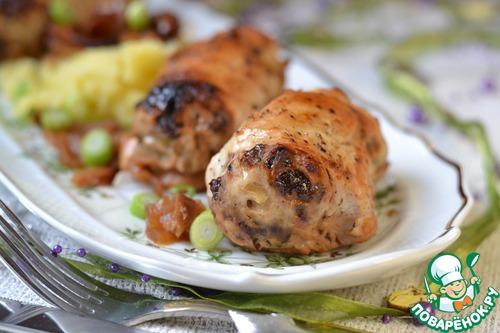 Фаршированные куриные грудки «Новогодние» — блюдо-восторг, подача — праздничная, начинка- вкуснючая!