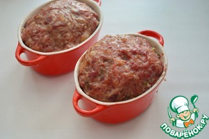 Put the dishes with meat bread in a cold oven. Cook at a temperature of 50°C for about 30 minutes, then increase the temperature to 80°C and cook until then, until the temperature inside the meat loaf reaches 68-72 °C.   If no thermometer, then cook at the rate of 1 minute per 1 mm of the diameter (cross-section).