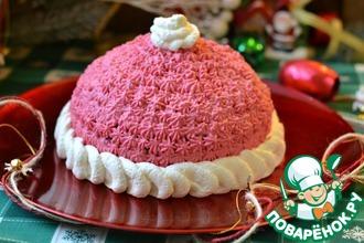 Рецепт: Торт Шапка Деда Мороза