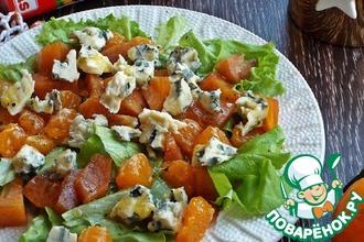 Рецепт: Салат с хурмой и голубым сыром