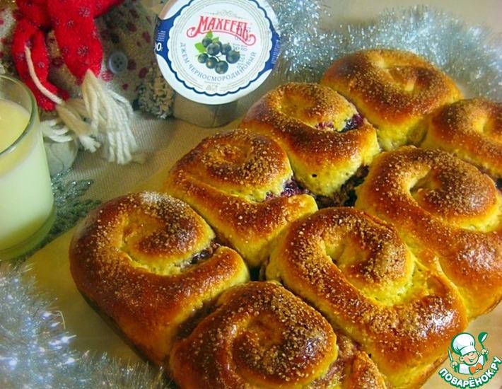 Рецепт: Овсяные булочки Улитки с джемом