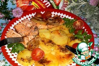 Рецепт: Запечённый лосось с картофелем в фольге